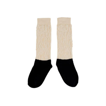 hairy color block high socks / tinycottons