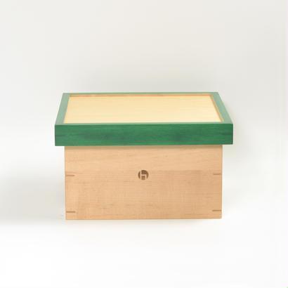 箱膳 小 メイプル  色漆 緑