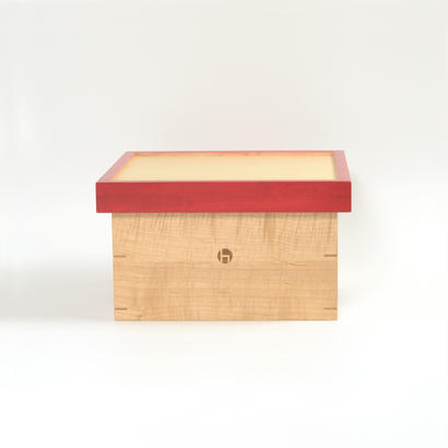 箱膳 小 メイプル  色漆 赤