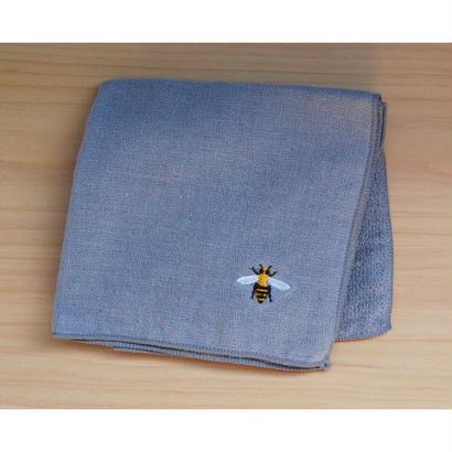 ガーゼハンカチ ミツバチ刺繍