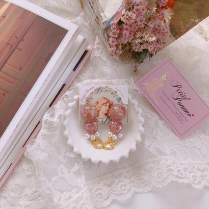 Flower Cabochon & Heart Charm/pierced earrings