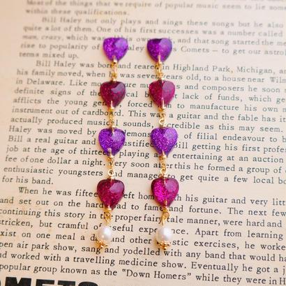 Tiny Hearts pierced earrings/ PurplePink