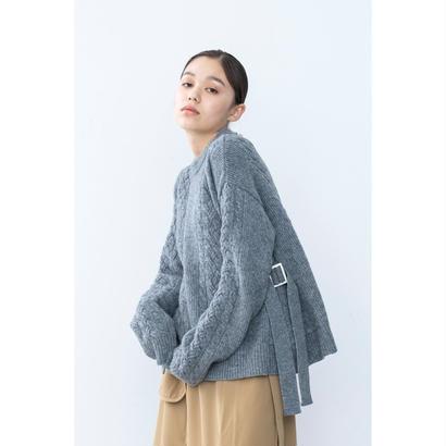 【2018A/W】サイドバックルフレアニットプルオーバー/グレー
