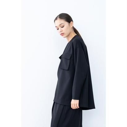 【2018A/W】ダブルクロスポケットブラウス/ブラック