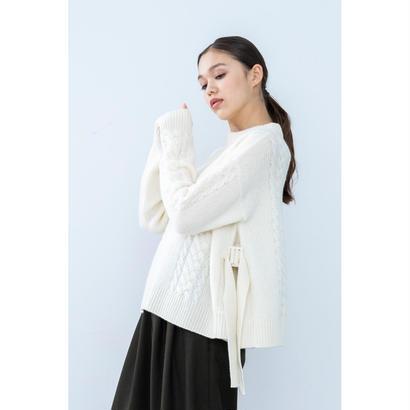 【2018A/W】サイドバックルフレアニットプルオーバー/アイボリー