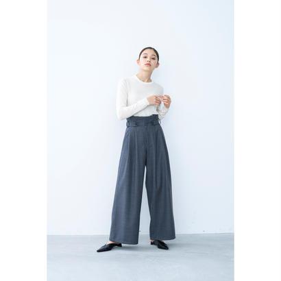 【2018A/W】フロントタブウールワイドパンツ/グレー