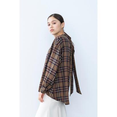 【2018A/W】バックタイチェックブラウス/ベージュ
