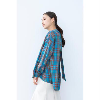 【2018A/W】バックタイチェックブラウス/ブルー