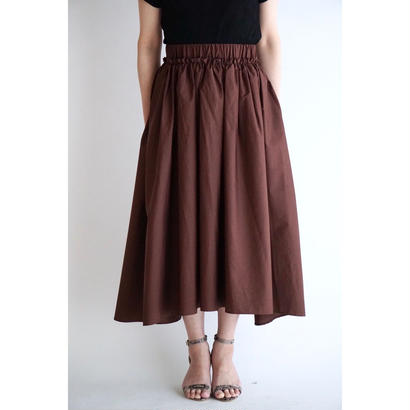 it / COTTON GATHER SKIRT (BROWN)