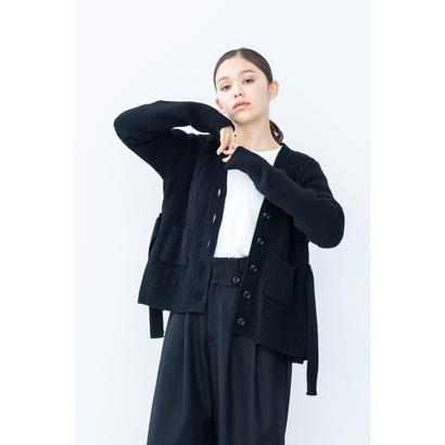 【2018A/W】サイドバックルフレアカーディガン/ブラック