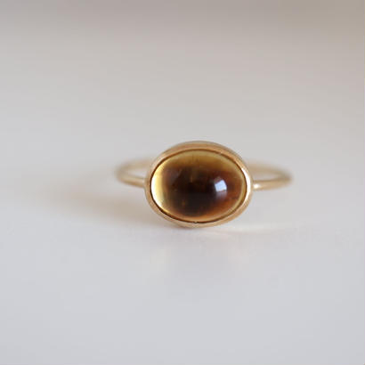 K18 CITRINE  OVAL CABOCHON RING