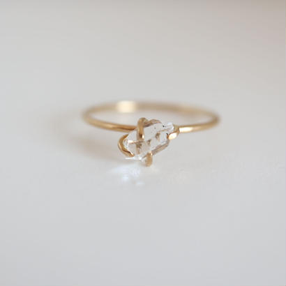 k18&DIAMOND QUARTZ RING
