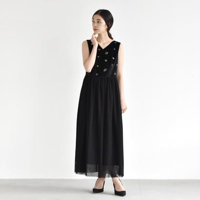100335 / ベロア刺繍×チュールロングワンピース