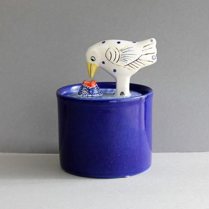 Jar with Lid  bird&fish  / ジャー  鳥と魚
