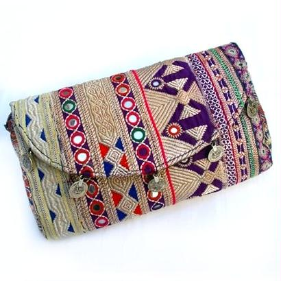 Banjara 2wayクラッチバッグ 1点物《bjc14》zariミラーワーク刺繍ヴィンテージテキスタイル