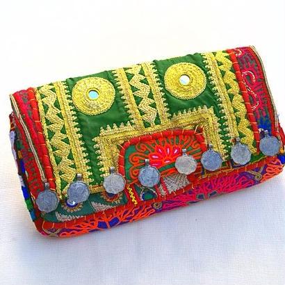 2wayクラッチバッグ《3》ミラーワーク刺繍ヴィンテージテキスタイル