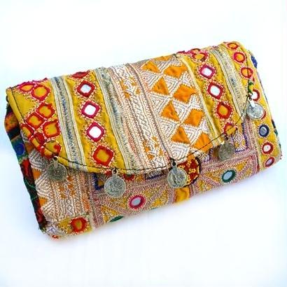 Banjara 2wayクラッチバッグ 1点物《bjc15》zariミラーワーク刺繍ヴィンテージテキスタイル