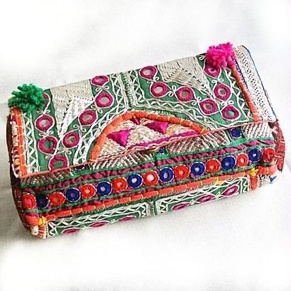 Banjara 2wayクラッチバッグ 1点物《bjc13》zariミラーワーク刺繍ヴィンテージテキスタイル