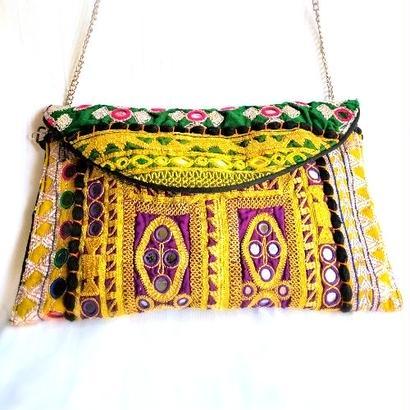 Banjara 2wayクラッチバッグ 1点物《bjc11》zariミラーワーク刺繍ヴィンテージテキスタイル