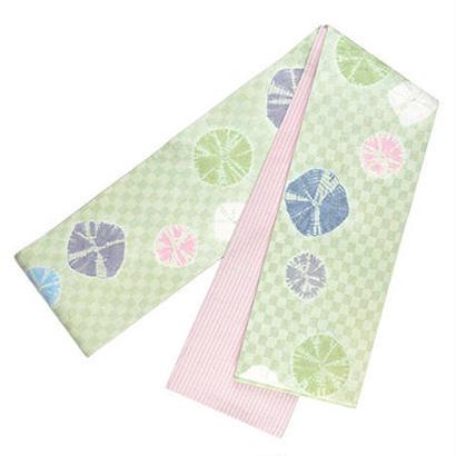 【店主創作】絞り半巾帯 淡緑