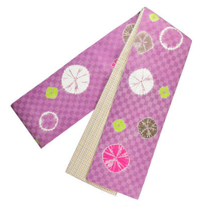 絞り半巾帯 ピンク