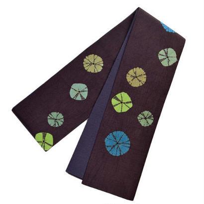 絞り半巾帯 ブラウン