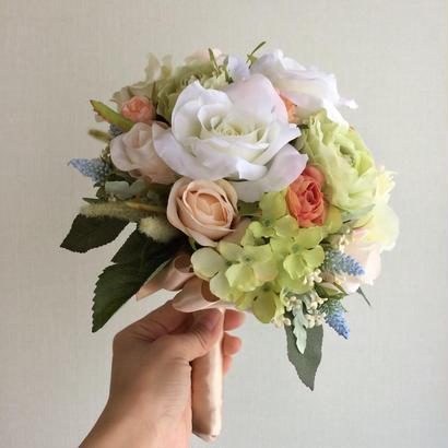 バラのラウンドブーケ&ブートニア&花冠セット