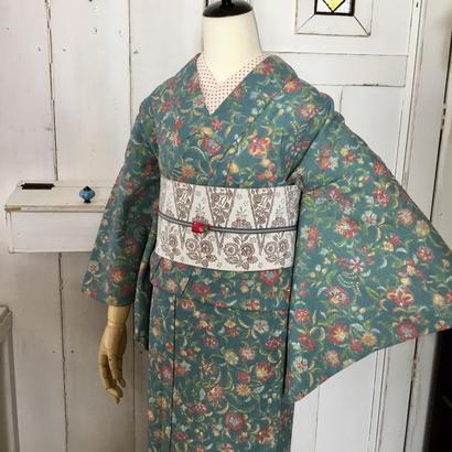 km1016【単衣着物】お花畑の薄手ウール着物にエキゾチック半幅帯・単衣着物コーデ5点セット