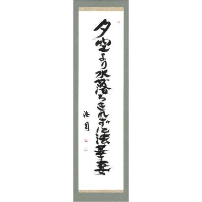安井浩司 俳句墨書軸『夕空より水落ちきれずに法華妻』(『密母集』)