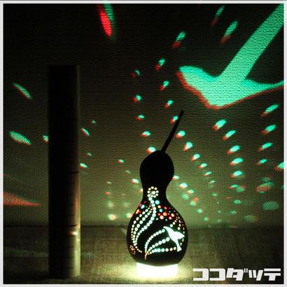 ひょうたんライト021【鳥風/ブラック】