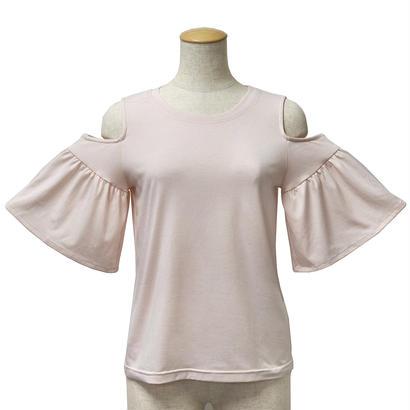 肩あき袖フリルカットソー(ピンク)