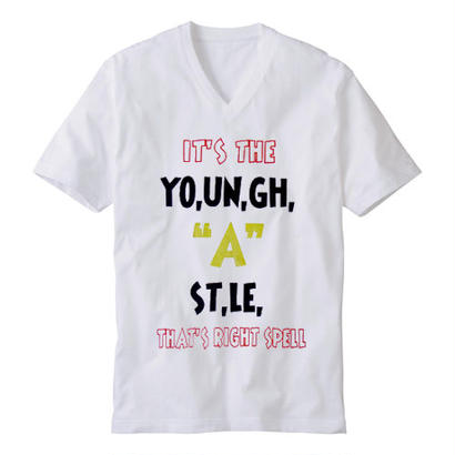 "【20%OFF】YOUNG HASTLE ""SPELL MY NAME RIGHT"" V-NECK TEE OLYMPIC"