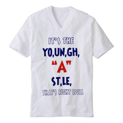 "【20%OFF】YOUNG HASTLE ""SPELL MY NAME RIGHT"" V-NECK TEE WHITE/NAVY/RED"