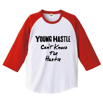 "【20%OFF】YOUNG HASTLE ""CAN'T KNOCK THE HASTLE"" 3/4 SLEEVE RAGLAN WHITE/RED"
