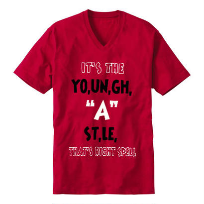 "YOUNG HASTLE ""SPELL MY NAME RIGHT"" V-NECK TEE RED/BLACK/WHITE"