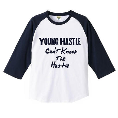 "YOUNG HASTLE ""CAN'T KNOCK THE HASTLE"" 3/4 SLEEVE RAGLAN WHITE/NAVY"