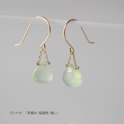 【anq.】K18/K10・マロンピアス 【誕生石・ギフト】プレナイト