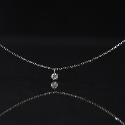 【anq.】K18ホワイトゴールド・0.1ctレーザーホールダイヤモンド ネックレス