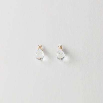 【anq.】K10・天然石チャーム ホワイトトパーズ