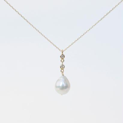 anq. 2連ダイヤモンド、アコヤパールネックレス