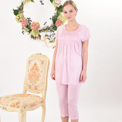Silk100%シャーリングパジャマ(la sakura)2281 クリーニングポーチ付き