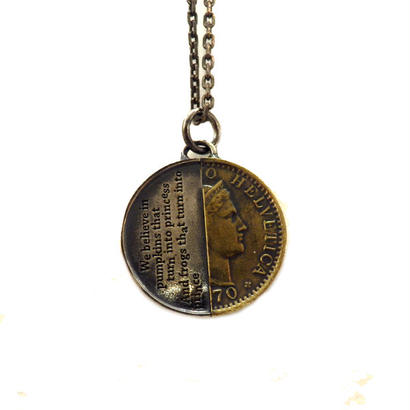 THEFT - silver×brass half coin Necklace top