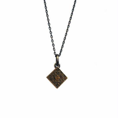 bIRTHRE - flat tile engraving square cross pendant T-41 brass