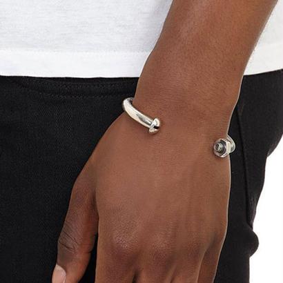 G&B - Skinny Nut & Bolt Cuff Silver Oxide