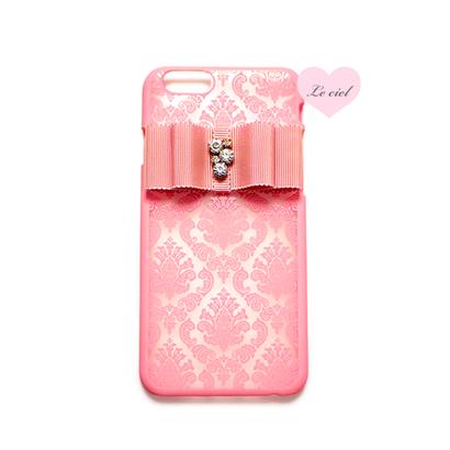 各種iPhone ダマスク柄×ビジューリボン ハードケース ピンク
