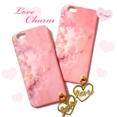 各種iPhone ピンク大理石×Loveチャーム ハードケース
