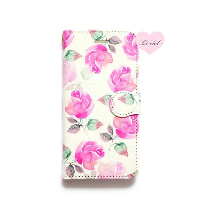 ♡名入れ対応♡手帳型ケース ピンクローズ