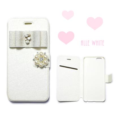 各種iPhone 手帳型ケース オールホワイト ビジューリボン×パールビジュー