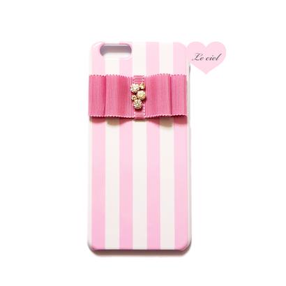 各種iPhone ピンクストライプ×ビジューリボン ハードケース