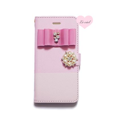 ♡名入れ対応♡手帳型ケース ピンク/ピンク バイカラー×ビジューリボン×パールビジュー